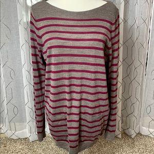 Ann Taylor Loft Gray and Purple Striped Sweater XL